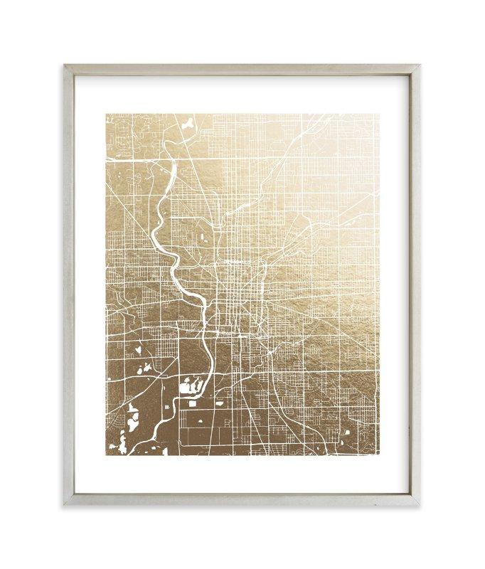 Wedding Invitations Indianapolis: Indianapolis Map Foil-Pressed Wall Art By Melissa Kelman