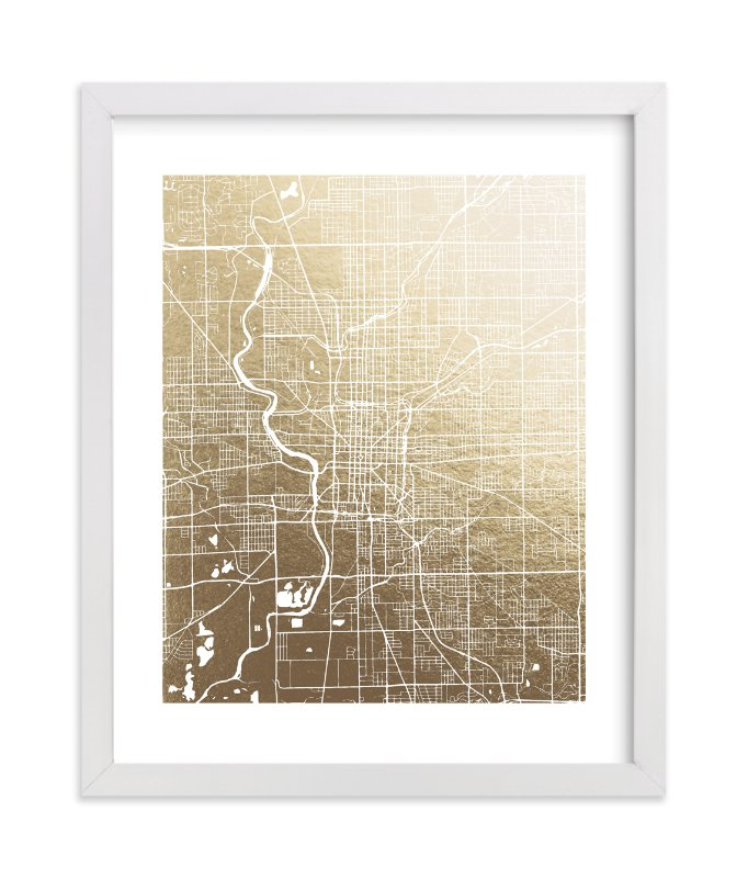 """Indianapolis Map"" - [non-custom] Foil-pressed Art Print by Melissa Kelman in beautiful frame options and a variety of sizes."