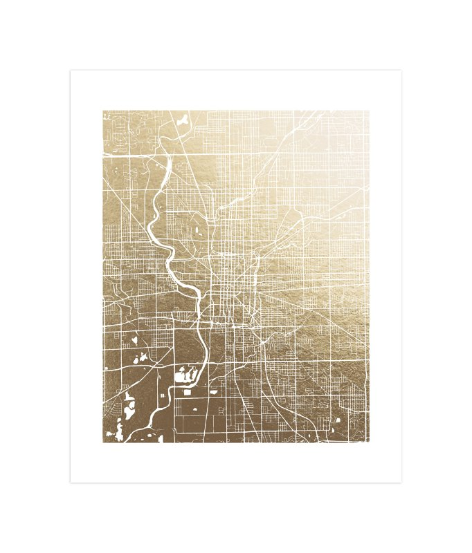 """""""Indianapolis Map"""" - Foil-pressed Art Print by Melissa Kelman in beautiful frame options and a variety of sizes."""