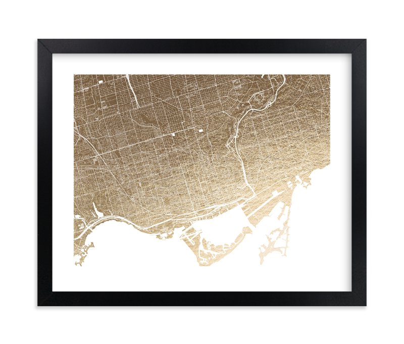"""Toronto Map"" - Foil-pressed Art Print by Alex Elko Design in beautiful frame options and a variety of sizes."