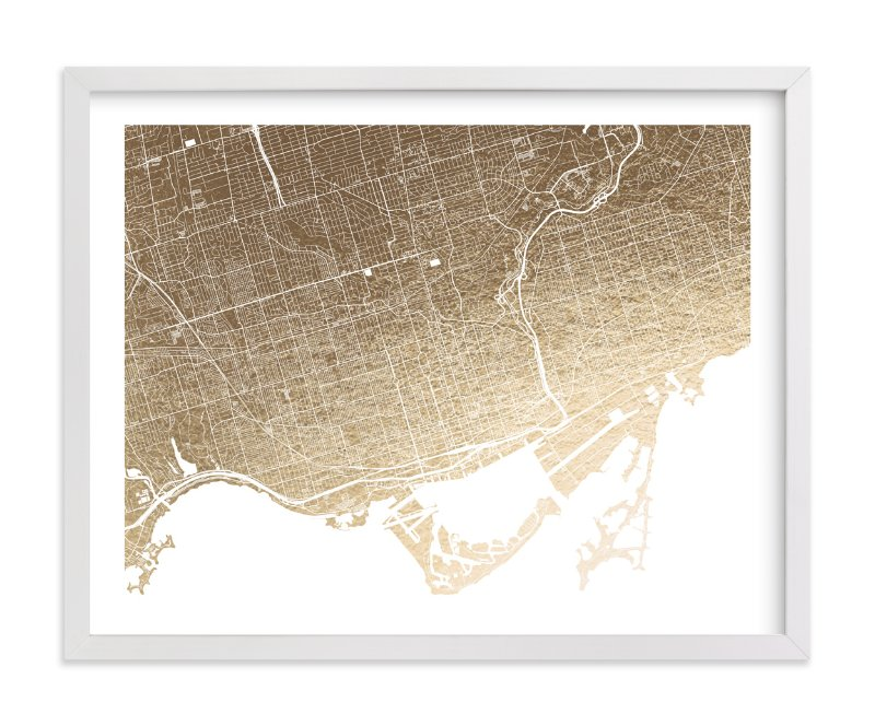This is a gold foil stamped wall art by Alex Elko Design called Toronto Map with standard.
