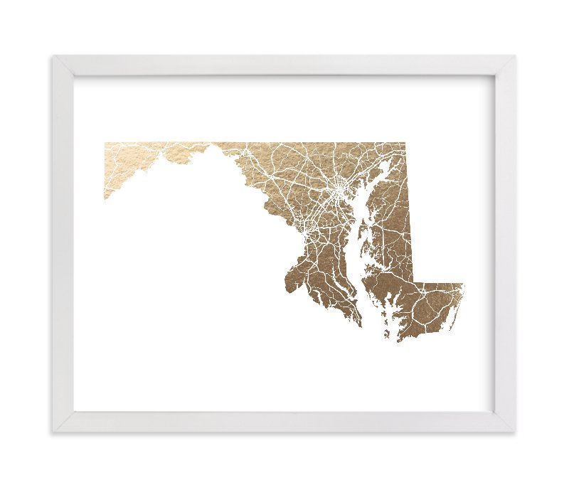 """Maryland Map"" - [non-custom] Foil-pressed Art Print by GeekInk Design in beautiful frame options and a variety of sizes."