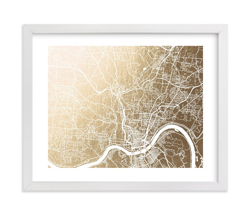"""""""Cincinnati Map"""" - Foil-pressed Art Print by Laura Condouris in beautiful frame options and a variety of sizes."""