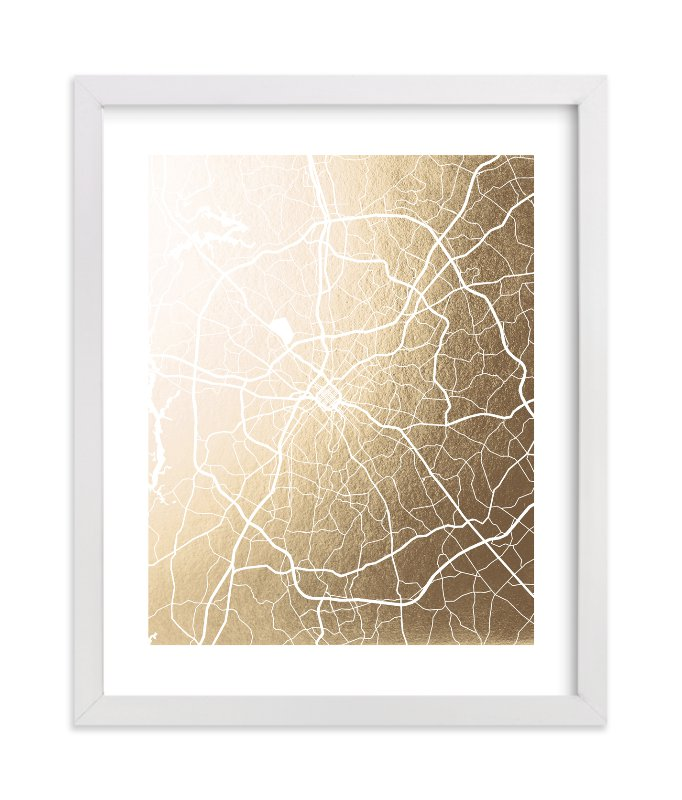 """""""Charlotte Map"""" - [non-custom] Foil-pressed Art Print by Laura Condouris in beautiful frame options and a variety of sizes."""