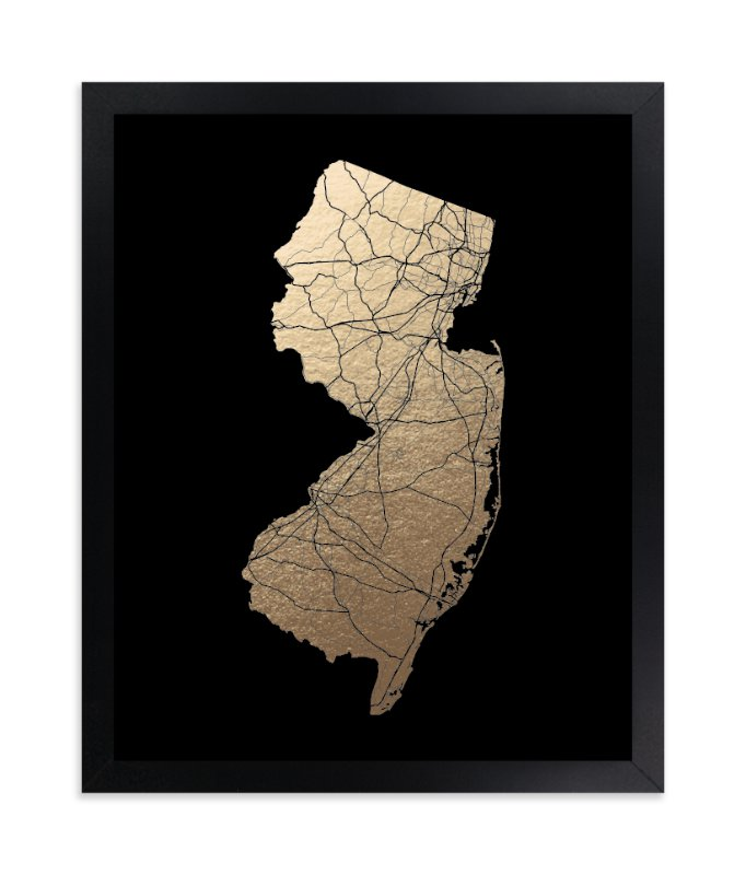 """New Jersey Map - Filled"" - Foil-pressed Art Print by GeekInk Design in beautiful frame options and a variety of sizes."