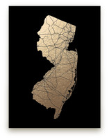 New Jersey Map - Filled Foil-Pressed Wall Art