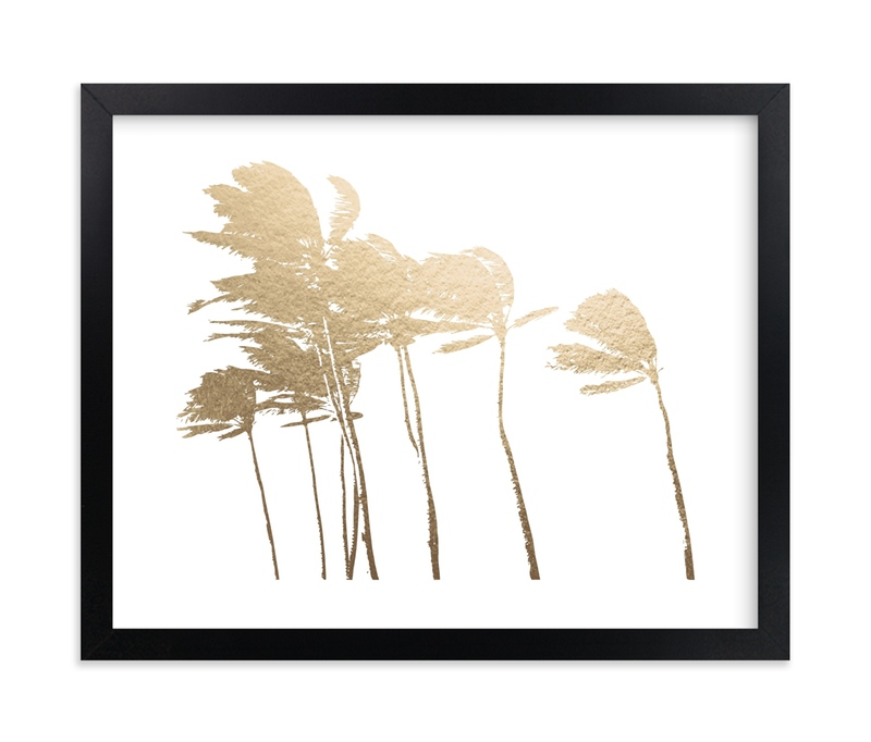 """Palm Trees in the Wind Foil"" - [non-custom] Foil-pressed Art Print by BeachPaperCo in beautiful frame options and a variety of sizes."