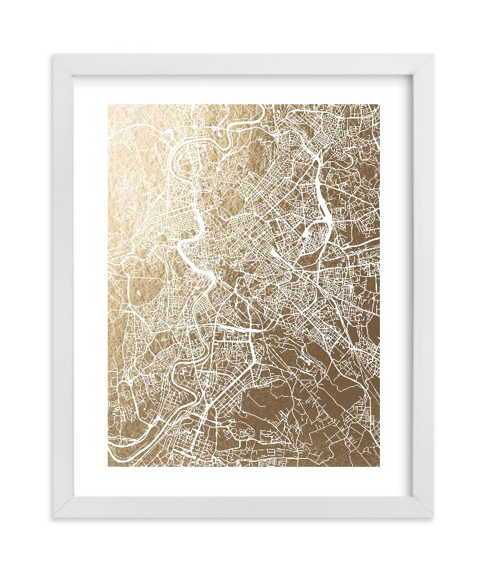 """""""Rome Map"""" - Foil-pressed Art Print by Alex Elko Design in beautiful frame options and a variety of sizes."""