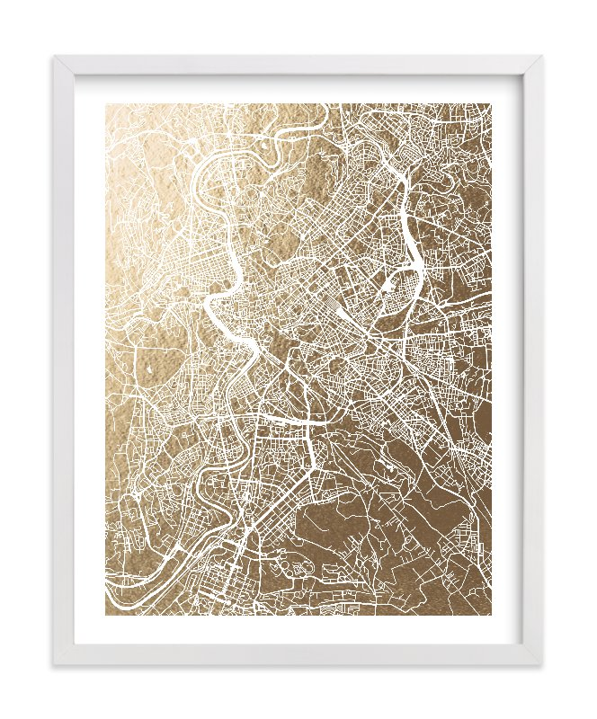 This is a gold foil stamped wall art by Alex Elko Design called Rome Map with standard.