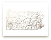 Pennsylvania Map Foil-Pressed Wall Art
