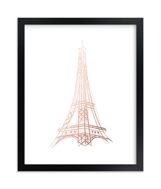 """La Tour Eiffel"" - Foil-pressed Art Print by Lori Wemple in beautiful frame options and a variety of sizes."