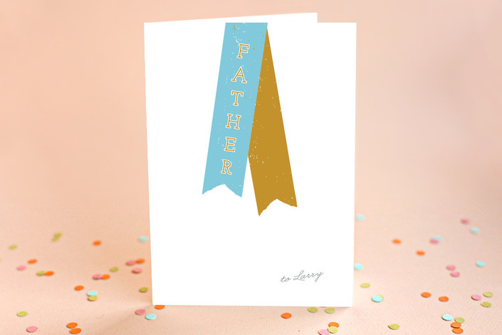 """""""Varsity Ribbon"""" - Father's Day Greeting Cards in Teal by Marabou Design."""