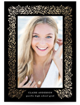 This is a black foil stamped graduation card by Jennifer Postorino called freshly framed with foil-pressed printing on signature in petite.