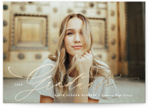 This is a brown foil pressed graduation card by Michelle Taylor called Handwritten with foil-pressed printing on signature in petite.