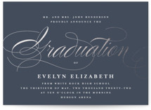 This is a blue foil stamped graduation card by Lauren Chism called Formal with foil-pressed printing on signature in petite.