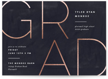 This is a blue foil stamped graduation card by Pixel and Hank called Great Grad with foil-pressed printing on doublethick in petite.
