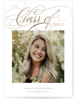This is a brown graduation announcement invitation by Holly Whitcomb called Elegant Tradition with foil-pressed printing on smooth signature in standard.