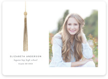 This is a white graduation announcement invitation by Katy Shen called Foil Tassel with foil-pressed printing on smooth signature in standard.