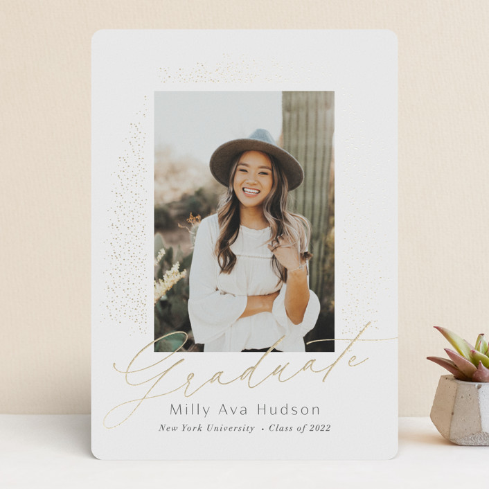 """""""Simply Sparkling"""" - Modern Foil-pressed Graduation Announcements in Snow by Nicoletta Savod."""