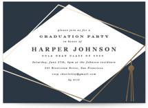 This is a blue graduation announcement invitation by Creo Study called Hats off with foil-pressed printing on signature in standard.