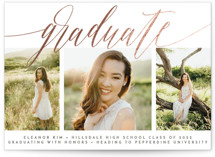 This is a grey graduation announcement invitation by Olivia Raufman called Classic Beauty with foil-pressed printing on smooth signature in standard.