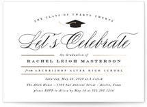This is a gold graduation announcement invitation by Jennifer Postorino called Celebration with foil-pressed printing on signature in standard.