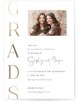 This is a black graduation announcement invitation by Sara Hicks Malone called simply grads with foil-pressed printing on smooth signature in standard.