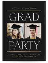 This is a black graduation announcement invitation by Erin L. Wilson called Double Take with foil-pressed printing on signature in standard.