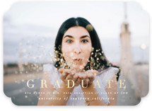 This is a blue graduation announcement invitation by Leah Bisch called Bright Future with foil-pressed printing on smooth signature in standard.
