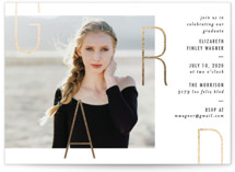This is a white graduation announcement invitation by Jennifer Lew called Grad Fare with foil-pressed printing on smooth signature in standard.