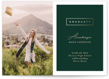 This is a green graduation announcement invitation by Pine Street Creative called Classic Graduate with foil-pressed printing on smooth signature in standard.