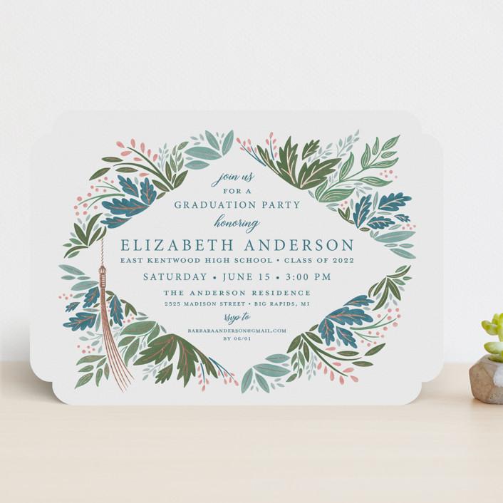 """Flourish"" - Foil-pressed Graduation Announcements in Garden by Paper Sun Studio."