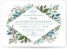 This is a blue graduation announcement invitation by Paper Sun Studio called Flourish with foil-pressed printing on doublethick in standard.