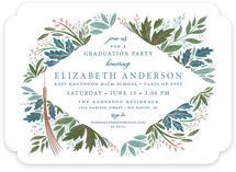 This is a blue graduation announcement invitation by Paper Sun Studio called Flourish with foil-pressed printing on recycled in standard.