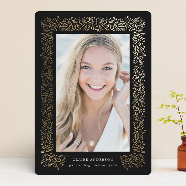"""freshly framed"" - Modern Foil-pressed Graduation Announcements in Onyx by Jennifer Postorino."