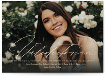 This is a beige graduation announcement invitation by Jackie Mangiolino called Virtual Valedictorian with foil-pressed printing on signature in standard.