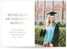 This is a white foil pressed graduation card by Up Up Creative called Essential Nurse with foil-pressed printing on signature in standard.