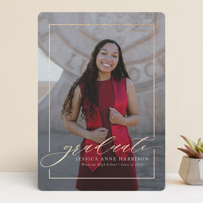 """Break boundaries"" - Foil-pressed Graduation Announcements in Ivory by Yaling Hou Suzuki."