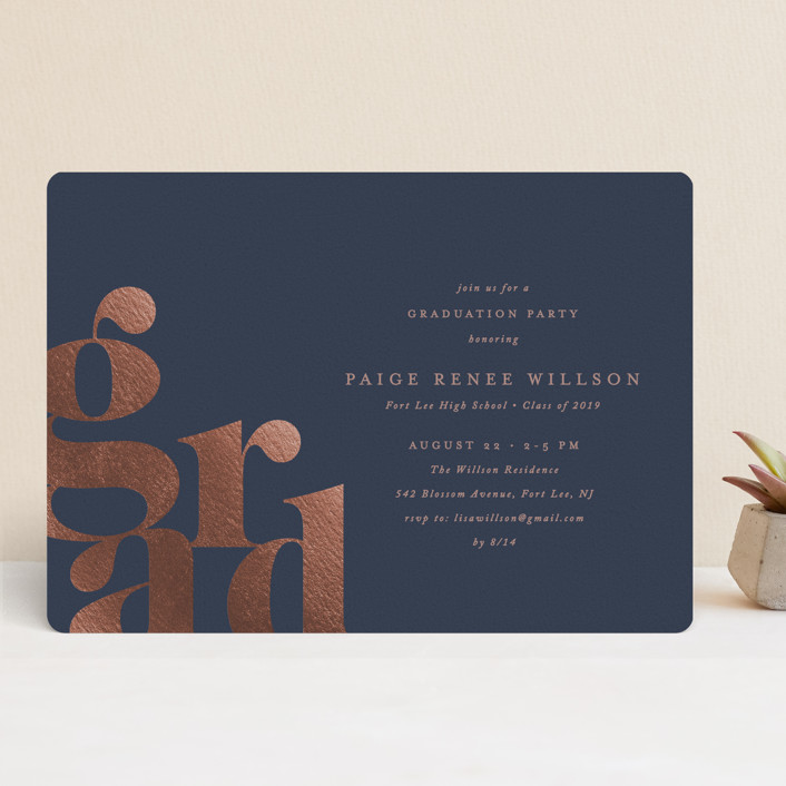 """Bold Grad"" - Modern Foil-pressed Graduation Announcements in Navy by Ana Sharpe."