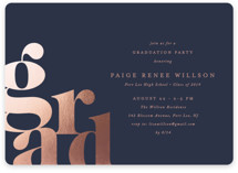 This is a blue graduation announcement invitation by Ana Sharpe called Bold Grad with foil-pressed printing on signature in standard.
