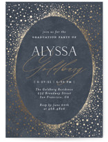 This is a blue graduation announcement invitation by Nicole Barreto called Shimmering Dots with foil-pressed printing on signature in standard.
