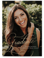 This is a white graduation announcement invitation by Lauren Chism called Ultra with foil-pressed printing on smooth signature in standard.
