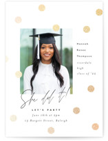 This is a white foil pressed graduation card by Pink House Press called You Did It! with foil-pressed printing on smooth signature in standard.