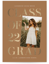 This is a brown foil pressed graduation card by Lauren Chism called Tilt with foil-pressed printing on signature in standard.