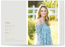 This is a grey graduation announcement invitation by Blustery August called The Future Is Bright with foil-pressed printing on smooth signature in standard.