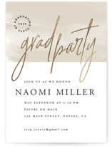 This is a brown graduation announcement invitation by Owl and Toad called Opportune with foil-pressed printing on signature in standard.