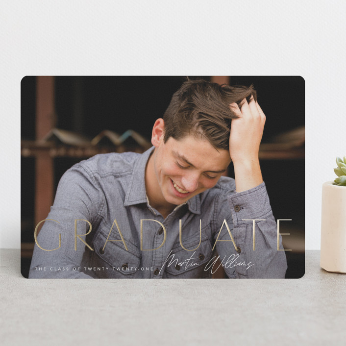 """""""Signed"""" - Foil-pressed Graduation Announcements in Onyx by Robert and Stella."""