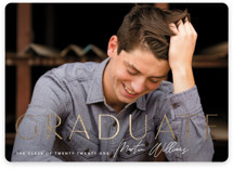 This is a black graduation announcement invitation by Robert and Stella called Signed with foil-pressed printing on smooth signature in standard.