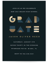 This is a blue foil pressed graduation card by Maria Alou called Geo Grad with foil-pressed printing on signature in standard.