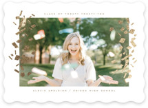 This is a white foil pressed graduation card by Kristie Kern called Confetti Cue with foil-pressed printing on pearlescent in standard.